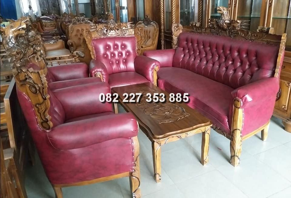 kursi tamu romawi garuda jok warna merah