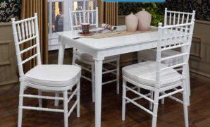 Kursi makan jati minimalis 4 kursi warna putih