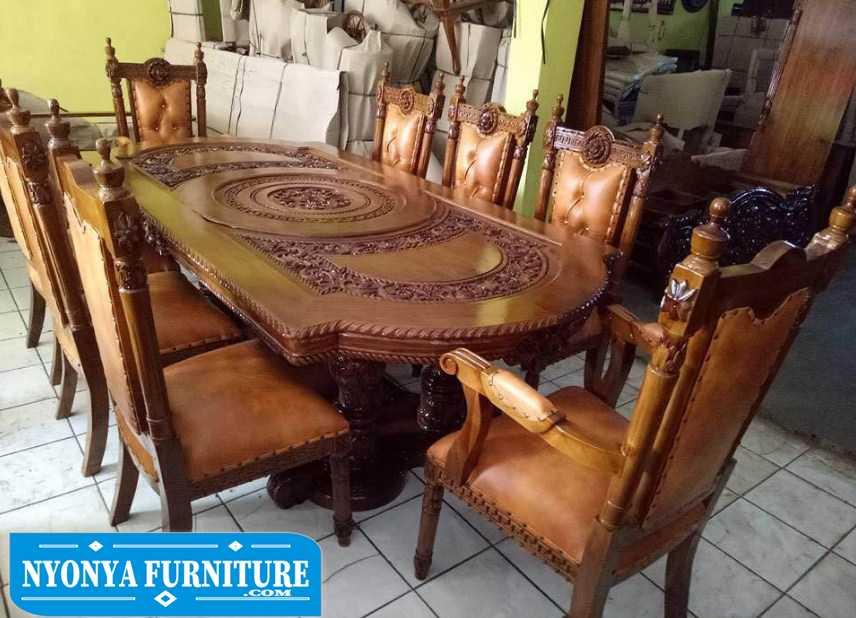 Set meja makan jati kursi manohara