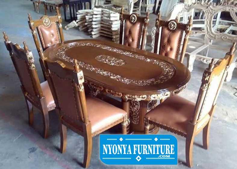 meja makan manohara gendong 6 kursi