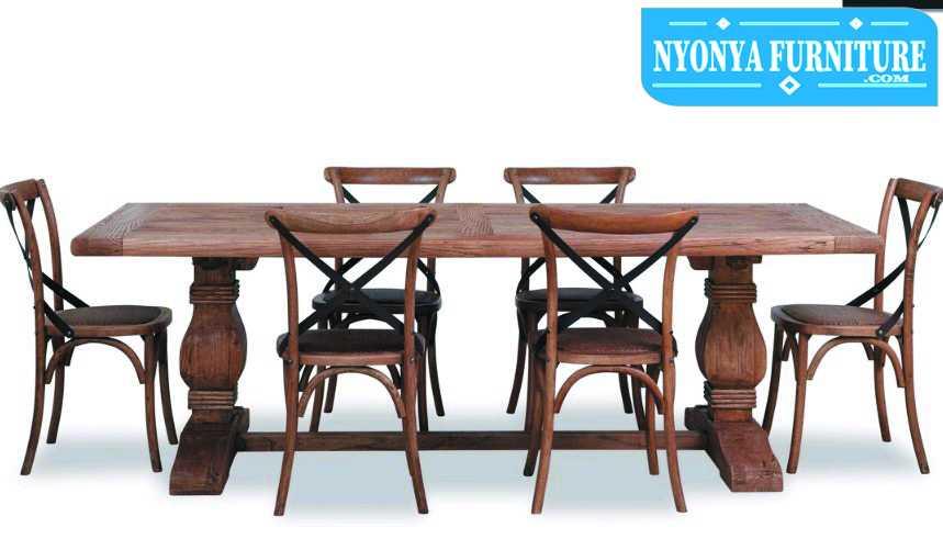 meja makan minimalis klasik rustic