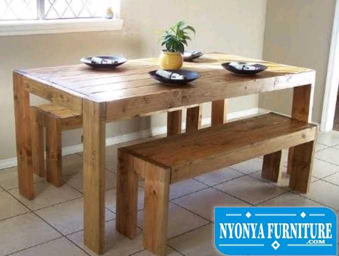 Meja makan sederhana kayu palet