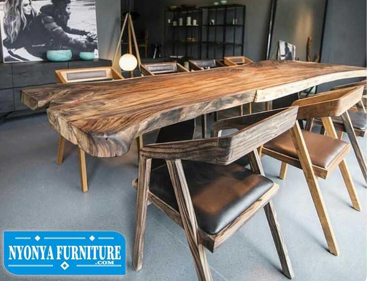 Set Meja makan kayu trembesi