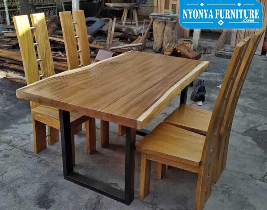 meja makan kayu unik